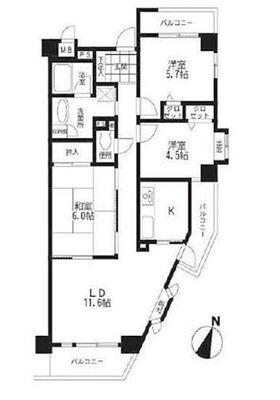 シャトー高畑 専有面積70.37m2バルコニー11.68m2和室約6帖 洋室約5.7帖 洋室約4.5帖 LDK約…