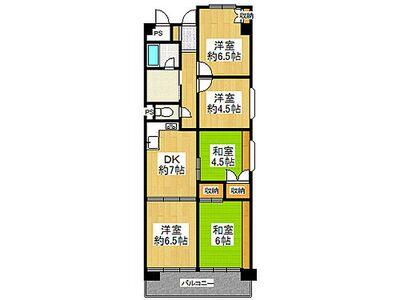 淀川パークハウス 5号棟 中古マンション 6帖以上の居室が3部屋あります