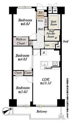アイビハイツ南品川 間取図/総戸数192戸のビッグコミュニティ、2階部分南東向き 専有面積64.01m2 バルコニー面…