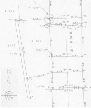 石脇字赤兀 600万円 土地価格600万円、土地面積630m<sup>2</sup> 境界確認図