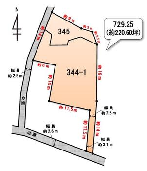 寺岡町(富田駅) 1086万円 土地価格1086万円、土地面積729.25m<sup>2</sup> ※公図をもとに作成しています。寸法は概算とlなりますので、図面と現況が異なる場合は、現況優先となります。
