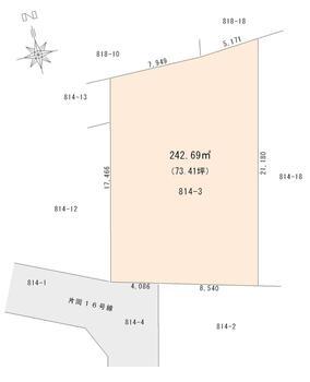 片岡 700万円 土地価格700万円、土地面積242.69m<sup>2</sup> 区画図
