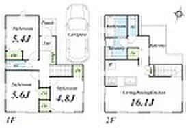 「杉並区上井草3丁目」 条件付売地 B区画 区割り・参考プラン