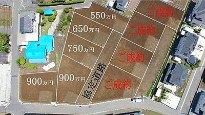 久喜市高柳 売地 全9区画 ドローンにて上空撮影。おかげさまで残り5区画となりました。1区画90坪超の土地です。建築条件無しの為、お好きなハウスメーカーで建築可能です。