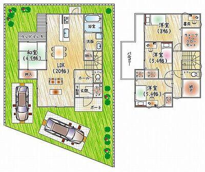 堺市西区上野芝町1丁 建築条件無し土地 全2区画 建物プラン例(間取り)自然豊かな閑静な住宅地