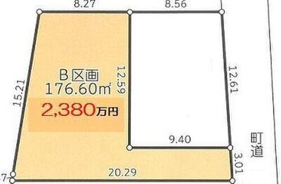 葉山町長柄の土地 2380万円 間口が3メートルあって専用通路は有効活用。プライバシーも保てて良いです。