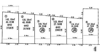 残り1区画・明石市小久保5丁目 6区画 区画図