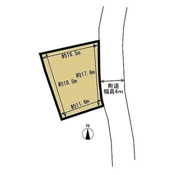 伊達郡国見町大字藤田 土地 【区画図】建築条件はありません。上下水道は、備えられていませんが前面道路に町営の水道及び下水道の本管が入っています。