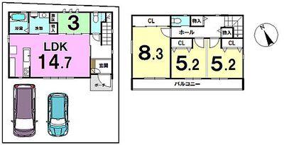 介良乙 売土地 建物プラン例) 建物価格:1462.00万円 間取り:4LDK 建物面積91.87m2