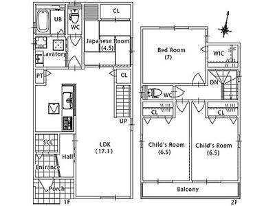 サンヨーハウジング 守山区西新2期 2号地参考プラン。間取りは自由に変えられます。注文住宅の為、参考プランとなります。