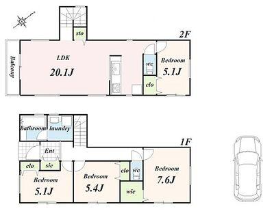 「練馬区南大泉4丁目」 建築条件付土地 建物プラン例(間取り図)