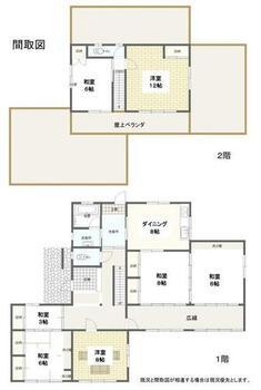 建物面積177.75㎡(53.76坪)、6SDKの間取図です。