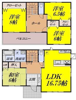 広渕字馬場屋敷(佳景山駅) 2650万円 2650万円、4LDK、土地面積180.91m<sup>2</sup>、建物面積115.51m<sup>2</sup> 1階・2階とホールを設け、開放感のある間取となっております。 和室とリビングのセパレートタイプ。