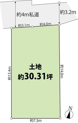 神泉町(神泉駅) 2億6800万円 2億6800万円、4LDK+S(納戸)、土地面積105.25m<sup>2</sup>、建物面積138.62m<sup>2</sup> 地形図です。北側4m私道に接道しています。