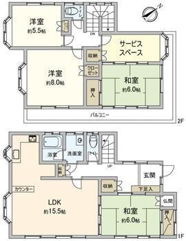 さくら台1(牛久駅) 1080万円 1080万円、4LDK、土地面積168.14m<sup>2</sup>、建物面積105.16m<sup>2</sup> 間取り