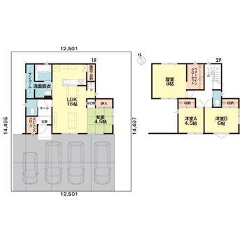 [インカムハウス]高岡市石瀬分譲F棟 2446万円、4LDK、土地面積181.22m<sup>2</sup>、建物面積107.68m<sup>2</sup> 間取図です。