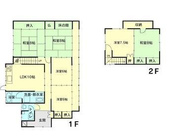 石瀬(江尻駅) 1078万円 1078万円、6DK、土地面積268.94m<sup>2</sup>、建物面積135.43m<sup>2</sup> 間取り図