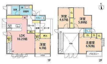 大字新田(屋代駅) 2980万円 2980万円、4LDK、土地面積193.16m<sup>2</sup>、建物面積98.12m<sup>2</sup> おおきな 吹き抜けのある家族の気配を感じられる幸せいっぱいのお家