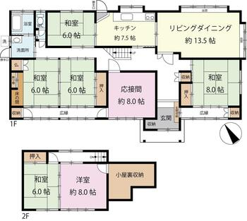 加茂野町鷹之巣(加茂野駅) 1480万円 1480万円、7LDK+S(納戸)、土地面積457.95m<sup>2</sup>、建物面積173.78m<sup>2</sup>