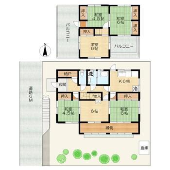 古市町 900万円 900万円、6DK、土地面積262.18m<sup>2</sup>、建物面積96.76m<sup>2</sup> 南向きに広々としたお庭があり、陽当たり良好