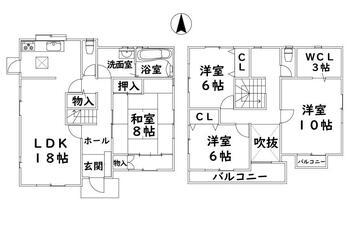 希望ケ丘2 1580万円 1580万円、4LDK+S(納戸)、土地面積229.28m<sup>2</sup>、建物面積132.67m<sup>2</sup>