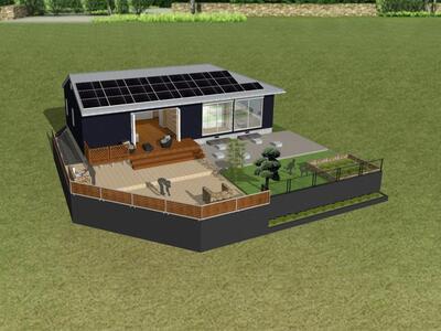晴美台3 9200万円 完成予定のパースです。土地112坪の土地にゆったりとした一戸建て。家庭菜園等も楽しめますね。