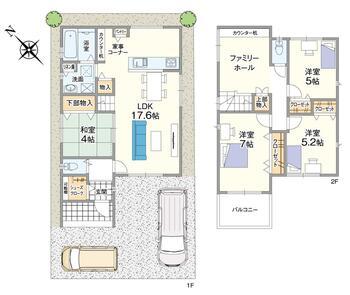 綾園3(高石駅) 3890万円 3890万円、4LDK、土地面積103.73m<sup>2</sup>、建物面積100.66m<sup>2</sup> 17.6帖のLDKと4帖の和室を一体化して使える、大家族にも嬉しい4LDKプランです。