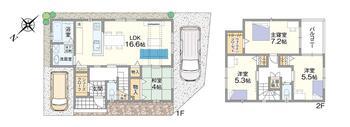 加茂2(高石駅) 4090万円 4090万円、4LDK、土地面積98.8m<sup>2</sup>、建物面積96.37m<sup>2</sup> 対面式キッチンや家事動線に配慮した水廻り設計、16.6帖の広いLDKなど、子育て世代に嬉しいポイントがたくさん!