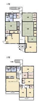 鷹島町中通免 1590万円 1590万円、8LDDKK+S(納戸)、土地面積234.99m<sup>2</sup>、建物面積232.75m<sup>2</sup> 二世帯住宅です。