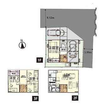 案内致します。 建売/山形市小荷駄町 3階洋室は間仕切りを入れて2部屋にする事も可能  3LDKを4LDKに