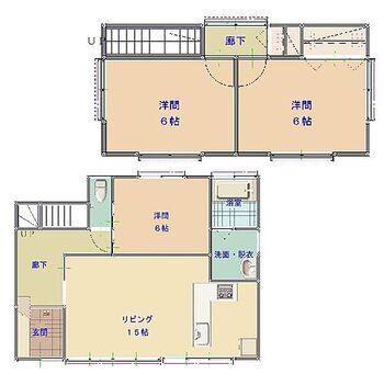 中津市沖代町1丁目 戸建て 【現在リフォーム中】約15帖のリビングと一階に1部屋、二階に2部屋の3LDKの間取です。