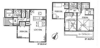 福生市熊川 新築分譲住宅 全1棟 1号棟 全居室2面採光で陽射しや風通しが良好なお家です。