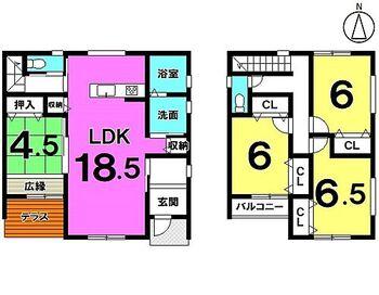 久留米市宮ノ陣5丁目 新築戸建 LDKとウッドデッキ、2階バルコニーは南向き!