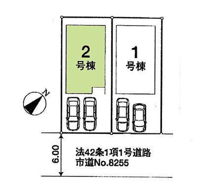 新築 川越市かすみ野2丁目「2台駐車可能」 区画図:2号棟 2台駐車可能^^
