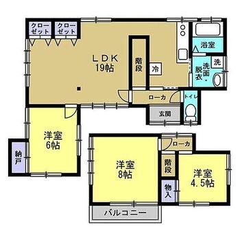 宮崎市高洲町 戸建て 【間取り図:リフォーム後】3LDKの間取りになりました。リビングが19帖と広いのでのびのびと使えますね。