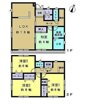 佐倉市六崎 戸建て 【間取り図】4LDKの間取りです。各居室に収納があるのに加えて、二階廊下にも収納があるのでお子様のいらっしゃるご家庭にも十分な間取りですね。
