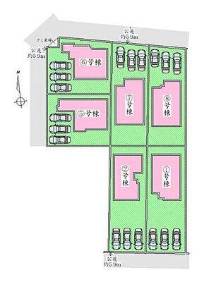 郡山市静西2丁目1期 1号棟 区画図 駐車場並列3台