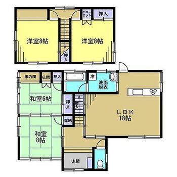 羽咋市東川原町チ 戸建て 【リフォーム前】1階6帖和室を駐車場に間取り変更します。これで3LDKに間取り変更します。