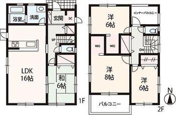 Livele Garden.S堺東区北野田4期 2号棟 全居室6帖以上、WICを2室に備えた収納豊富な4LDK。水廻りを集約し、家事動線にも配慮しています。