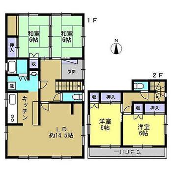 鳴門市撫養町立岩字芥原 戸建て 4LDKの2階建てです。浴室を1坪サイズに拡張します。