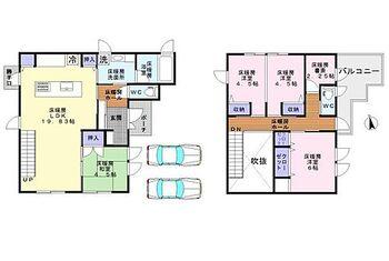 岸和田市岸の丘町1丁目 全室床暖房付きの3SLDKです。開放的な吹抜けリビングやおしゃれなアイランドキッチンが特徴です。