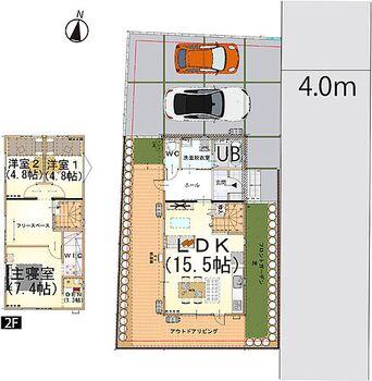 米沢市松が岬2丁目No.1 3LDK+フリースペース+DEN 駐車場は2台確保家族との時間をいちばんに考えた間取り設計。LDKに階段を設置。必ず家族と顔を合わせる空間を作りました。