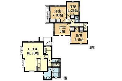 「鶴ケ峰」駅徒歩8分 新築一戸建て(12) 全16区画の分譲 間取り:12号棟間取図