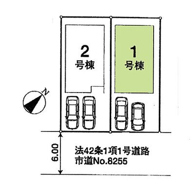 新築 川越市かすみ野2丁目「2台駐車可能」 区画図:1号棟 2台駐車可能(車種による)