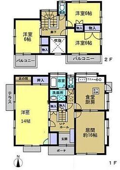 東金市日吉台6丁目 戸建て こちらRF後の間取りになります。1階和室を洋室に変更予定です。