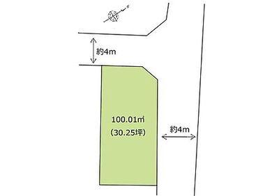 中古 狭山市入間川「緑豊かな住宅街」 区画図:人気の角地^^地下駐車場1台分有り。
