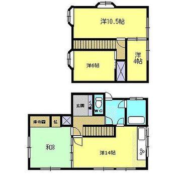 高岡市深沢 戸建て 【リフォーム後間取り図】3SLDKのコンパクトな住宅です。DKと隣の和室6畳をつなげてLDKにしました。また、浴室、脱衣場は1.25坪に拡張しました。2階にウォークインクロゼットもあるので洋服などの収