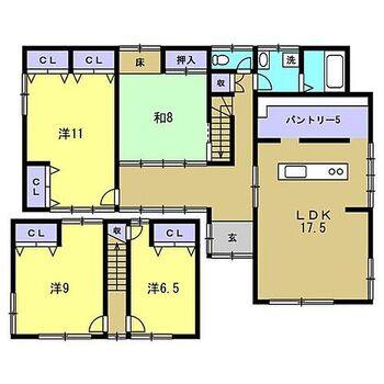 新潟市西蒲区鱸 戸建て こちらはリフォーム後の間取り図です。今回のリフォームでLDKやパントリーを作りました。和室の続き間もなくし、使い勝手の良い間取りになりました。