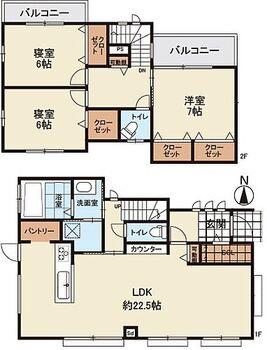 ライフフィールドはびきの6丁目 13号地 全居室6帖以上!LDKは約22.5帖の開放的な空間です♪オールフローリング仕様の3LDK新築戸建!
