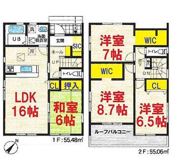 香取市佐原ロ1号棟(オール電化・SIC・WIC・駐車2台) 4LDK SIC(シューズインクローク)やWIC(ウォークインクローク)など収納が豊富な間取りになっています。